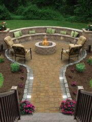 Outdoor patio with inviting firepit for family gatherings